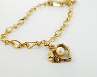 Pearl Filigree Heart Bracelet