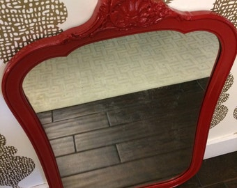 "Vintage ""Lady in Red"" Mirror"