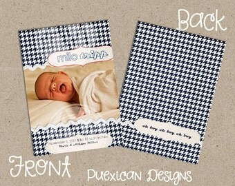 Two Sided Houndstooth Baby Announcement--Digital Download