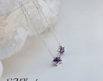 Purple Zircon Tiny Star Threader Chain Earrings Sterling Silver Ear Threads Minimal Simple Jewelry Teenage Girlfriend Birthday Gift For Her