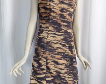 90s Parasuco photo transfer pixel tiger stripe ripple effect bodycon sheath dress/sleeveless & sexy: size 8