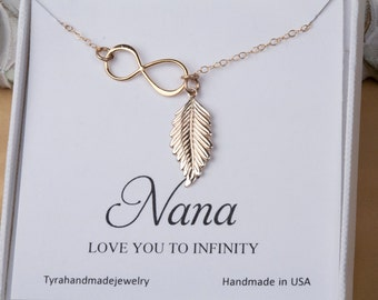 Feather necklace with nana note card,mother's day,Grandma gift,gift for mom's love,Silver or gold Infinity feather lariat Y necklace