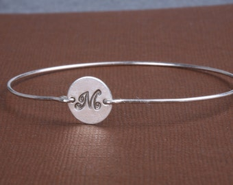 custom initial bangle,Bridesmaid gifts,birthday,sisters,Best friends,Wedding party gift,Monogram initial bangle bracelet,bridesmaid bangle