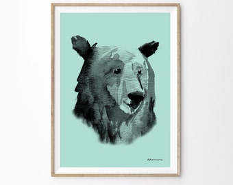 Seafoam & Black Watercolor Bear Head Wall Art Print | Woodland Kids Room Decor | Forest Nursery  Girls Room Poster Baby Shower Gift Bear Art