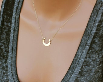 Modern Crescent Moon Necklace, Moon Necklace, Gold Moon Necklace, Gift for Her, Unique Necklace, 14k Gold Fill, Sterling Silver & Rose Gold