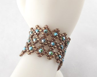 Brown and Turquoise Twinking Diamonds Bracelet with Fancy Toggle Clasp