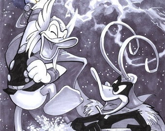 Comic Book Sketch Cover- Donald vs Daffy