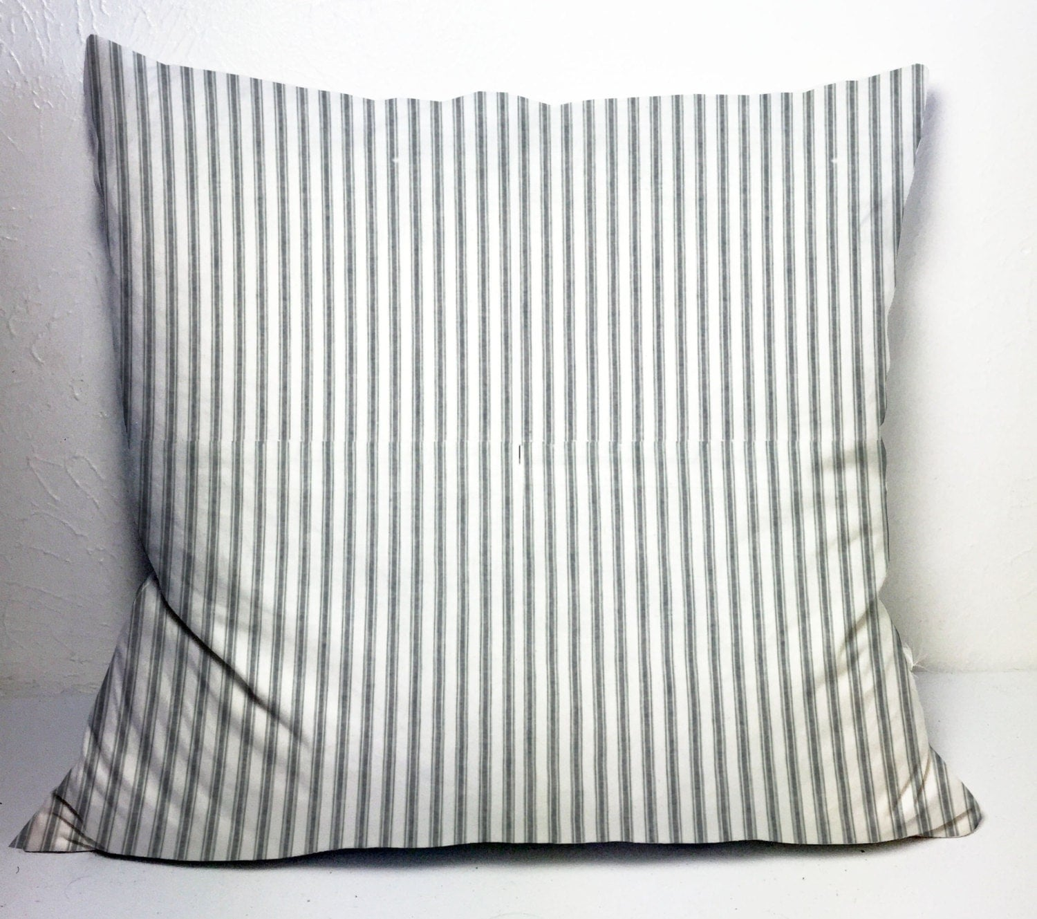 Throw Pillow Covers Farmhouse : Farmhouse pillow cover 24x24 in gray ticking pillow sham large