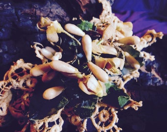 French vintage wax flowers, lace & ribbon bracelet, chocker necklace , garter, gift tie or decor. Paris