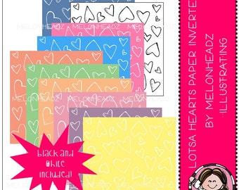 Lotsa Hearts Digital Paper - Inverted