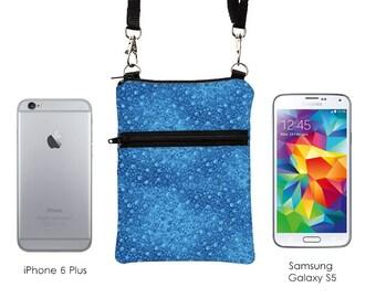 Travel Sling Bag, iPhone 7 Plus Shoulder Bag, Zipper Phone Purse with Strap, Women's Cross Body Travel Purse - tiny blue flowers