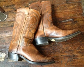 Mens Brown Leather Cowboy Boots, Handcrafted Leather Biker Riding Boots, Mens Size 9,5 to 10,5 US