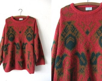 Royalty Print Benetton Vintage Sweater - Foulard Print Abstract Italian 90s Baggy Jumper - Womens XL