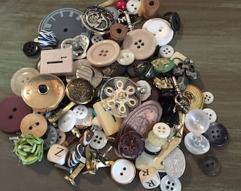 Buttons, Brads, Metal Embellishments Assorted Great for Altered Art, Mixed Media, Collage, Junk Journals, etc.