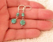 "Turquoise color Howlite small delicate dangle 1.5"" silver lever back earrings"