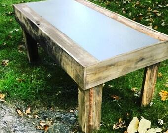 Pallet Coffee Table w/ Metal Shelf Insert