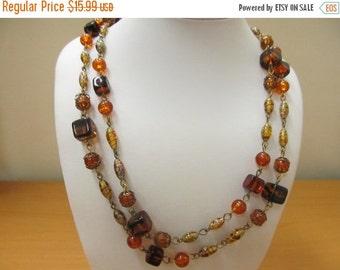 ON SALE Vintage Amber Colored Art Glass Beaded Necklace Item K # 2764
