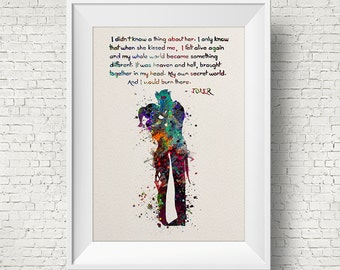 Joker and Harley Quinn Inspired Quote Colorful 1 Watercolor Painting Fine Art Print Art Super Hero Wall Decor Art Home Decor Wall Hanging