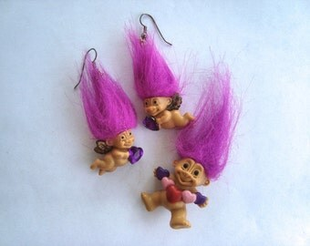 True Love Russ Neon Purple Haired Heart Troll Valentine's Angels Wings Cupids Bow Arrow Earrings