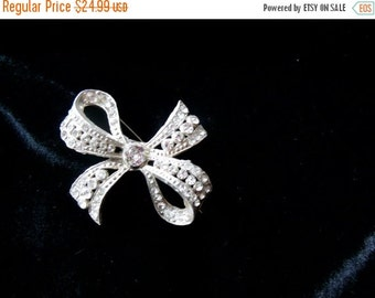 Biggest Sale Ever Antique Rhinestone Brooch in Bow Shape with C Clasp