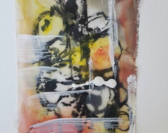Original encaustic abstract painting Framed, excellent gift...drop hints ;) Fine Art. ABSTRACT