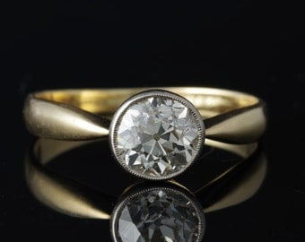 Glorious original Victorian 1.38 Ct old mine cut G-VVS solitaire diamond ring