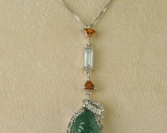 Fabulous 7.15 Ct natural Moghul emerald and diamond rare vintage necklace