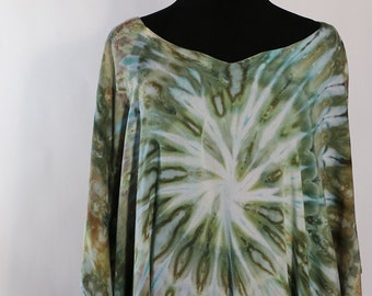 Plus Size Ice Dyed Tie Dyed Poncho,  Greens And Gold,   Asymmetric  Poncho Style Tunic, Light Rayon, READY TO SHIP