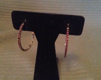 Vintage Goldtone and Amber Rhinestone Hoop Earrings
