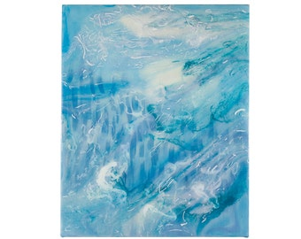 Fluid Landscape Painting 2, a poured abstract painting on 8inX10inX1.5in canvas in turquoise blue and green