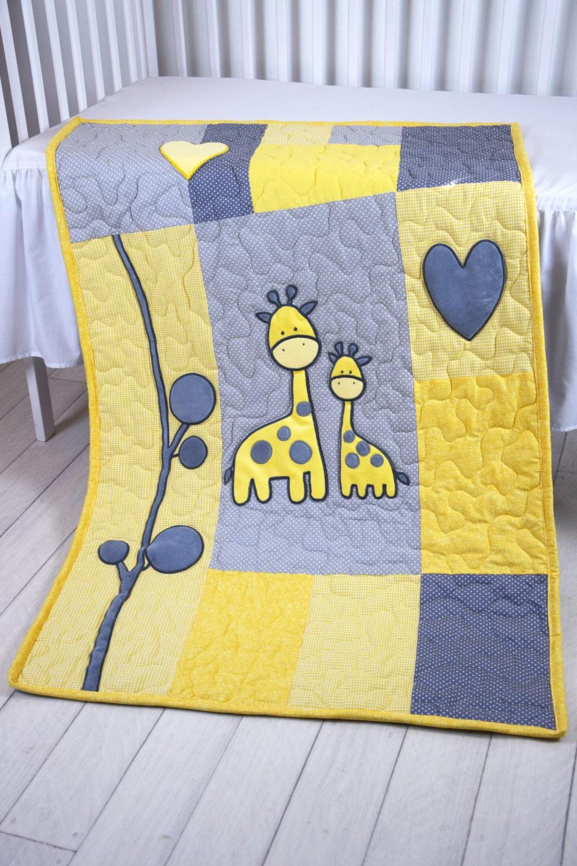 Baby Boy Blanket Giraffe Jungle Quilt Safari Nursery