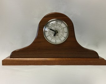Vintage Wood Mantel Clock Lanshire movement Electric Convex Glass