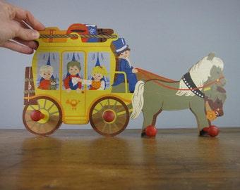 Vintage Coat Rack by Mertens Kunst, West German, hooks, naive illustration, horse and carriage, kids room decor