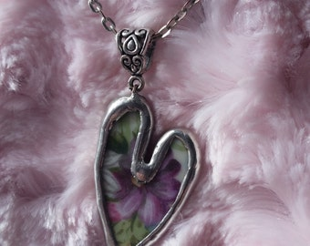 Broken China Heart Shaped Pendant