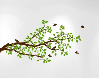 "Tree Branch Wall Decal Branches Birds Vinyl Sticker Nursery Leaves  52"" Wide X 28"" High #1296"