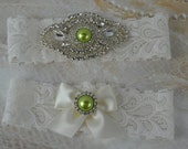 Wedding Garter Set -Green Pearl and Rhinestone Garter Set -Ivory Lace Garter- Vintage Garter