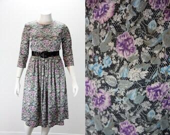 Dress XL - Vintage Dress XL - Lace and Floral Print