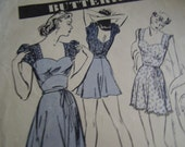 Vintage 1940's Pajamas Playsuit Sewing Pattern, Size 16, Bust 34