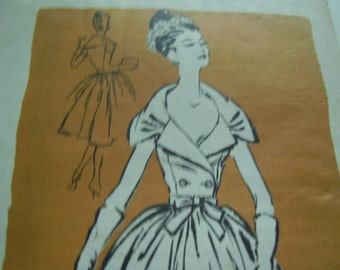 Vintage 1950's Mail Order Prominent Designer M188 Richard Cole Dress Sewing Pattern, Size 14, Bust 34