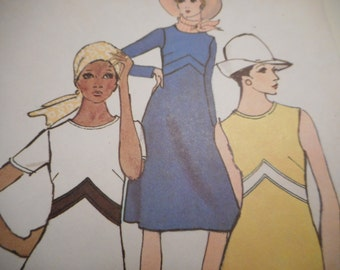 Vintage 1960's Vogue 8020 Dress Sewing Pattern, Size 14 Bust 36