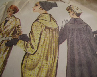Vintage 1950's Coat Sewing Pattern, Size 14, Bust 34