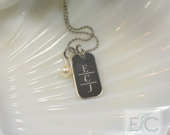 Engraved monogram necklace, split initials, stainless steel or sterling silver by ElizaJayCharm
