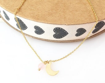 Moon necklace . Gold plated chain necklace. Little moon necklace. Pink and Crescent necklace. Everyday necklace