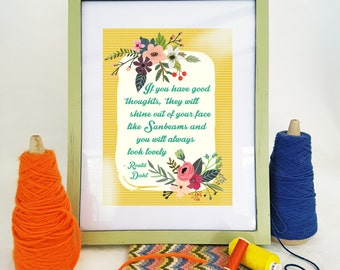 Roald Dahl 'Sunbeams' Quote A4 Print