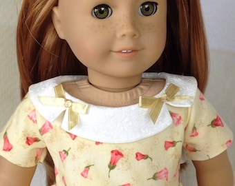 American Girl Dolls Clothes ~ 1950's Dress with Collar, yellow and coral