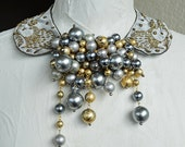 Vintage Beaded Gold Bullion Satin Collar Vintage Faux Pearl Statement Choker Necklace