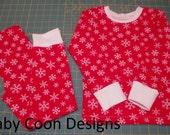 Baby Pajamas Christmas Pajamas baby pjs Winter pjs - Red Snowflakes - size 4T