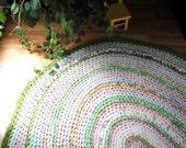 Large Braided Rag Rug, Oval Rug, Hand Made Rug, Pastel Nursery Rug, Cottage Decor Floor Mat, Crochet Rag Rug
