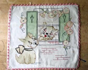 Nursery Pillow Cover, Embroidered Pillow Cover, Baby Children's Pillow Case, Vogue Needlecraft, Girls Nursery Decor, Dog Puppy Cat Kitten