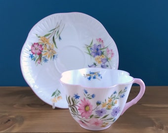 Vintage Shelley Dainty Cup and Saucer in the Wild Flower Pattern